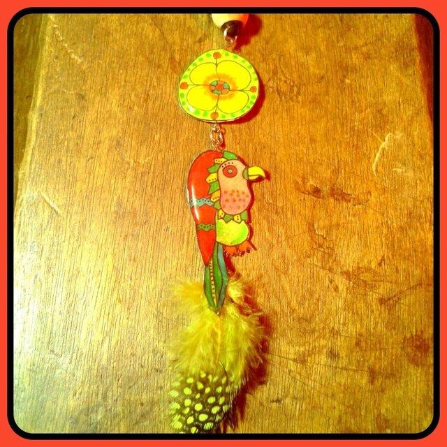 花と鳥  ネックレスの画像1枚目