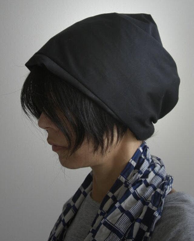 ターバンな帽子 黒リバーシブルB 送料無料の画像1枚目