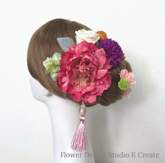 成人式・結婚式・卒業袴に♡ローズピンクのピオニーのヘッドドレス(19点セット)和装 着物髪飾り 和装婚 成人式前撮りの画像1枚目