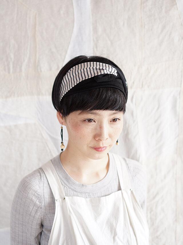 patchwork turban (cotton×linen mix 19ss-d)の画像1枚目
