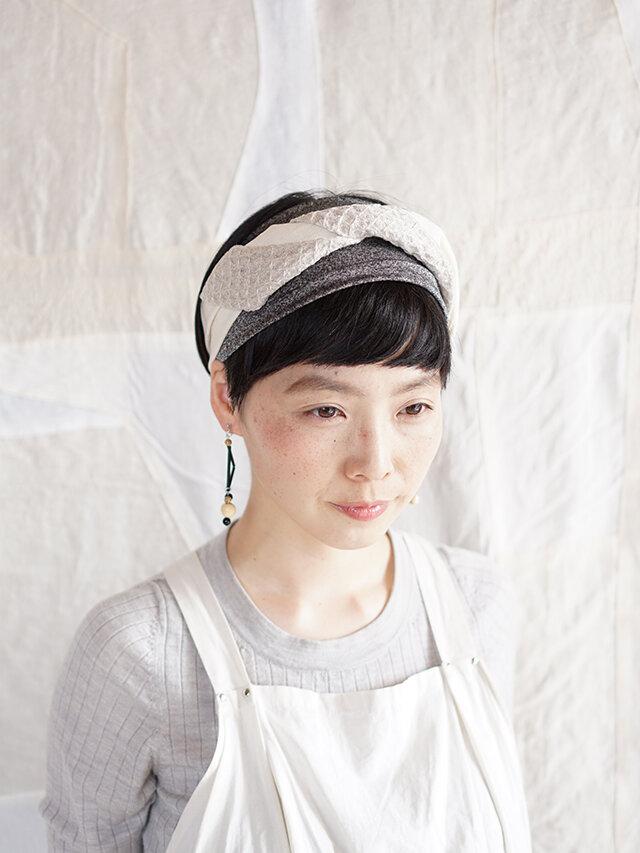 patchwork turban (cotton×linen mix 19ss-e)の画像1枚目
