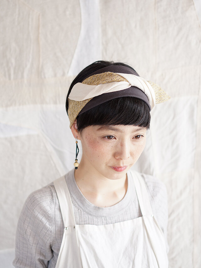 patchwork turban (cotton×linen mix 19ss-g)の画像1枚目