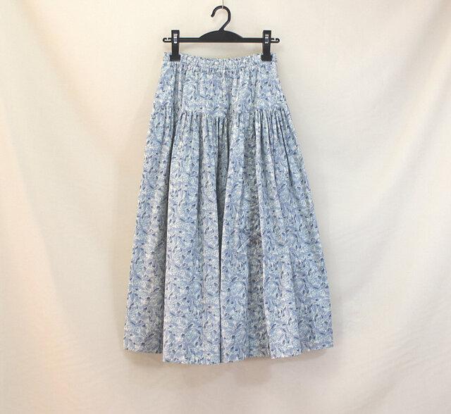 ウエストゴムのリボンスカート(ブルー)の画像1枚目