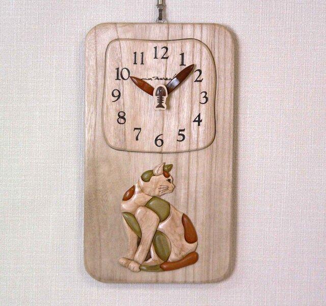 Woody Picture 猫時計の画像1枚目