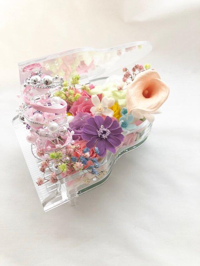 【プリザーブドフラワー/グランドピアノシリーズ】透明のグランドピアノに咲く華やかで繊細なメロディーの画像1枚目