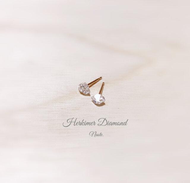 小さな原石ピアス ハーキマーダイヤモンドの画像1枚目
