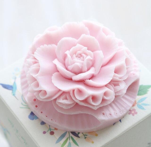 ソープカービング 薔薇デザイン 薄ピンクカラー 箱入りの画像1枚目