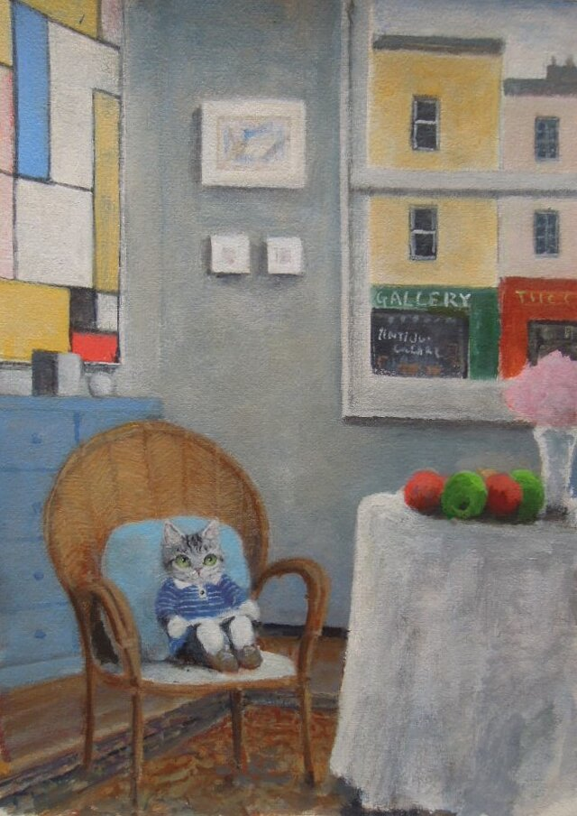籐の椅子の子ねことフルーツの画像1枚目