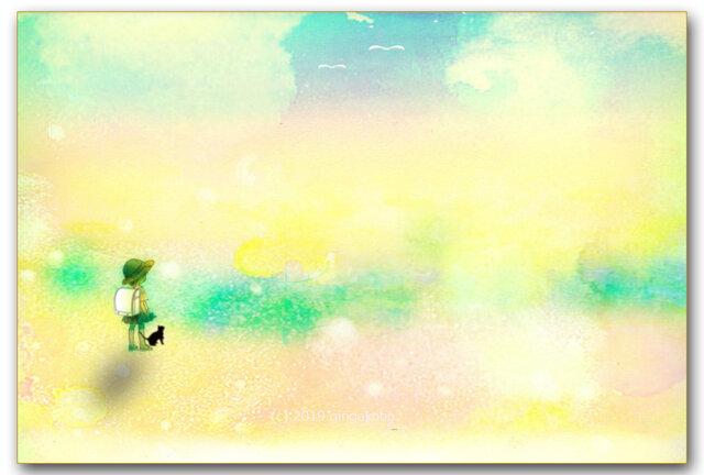 「道草の途中」 ほっこり癒しのイラストポストカード2枚組No.749の画像1枚目