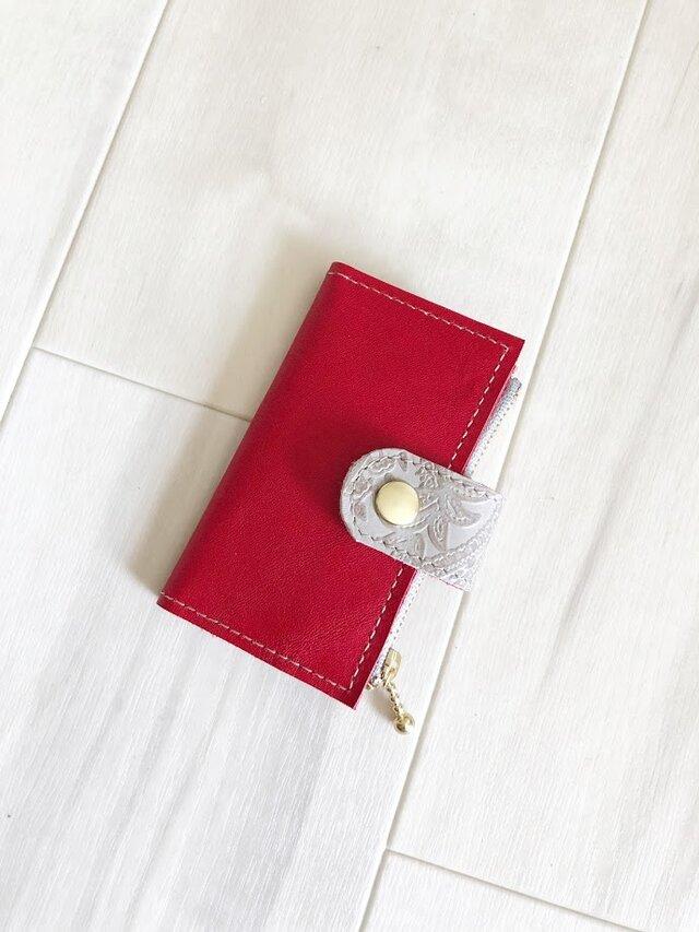 艶やかレッド キーケース コインケース付き 本革 レッドの画像1枚目