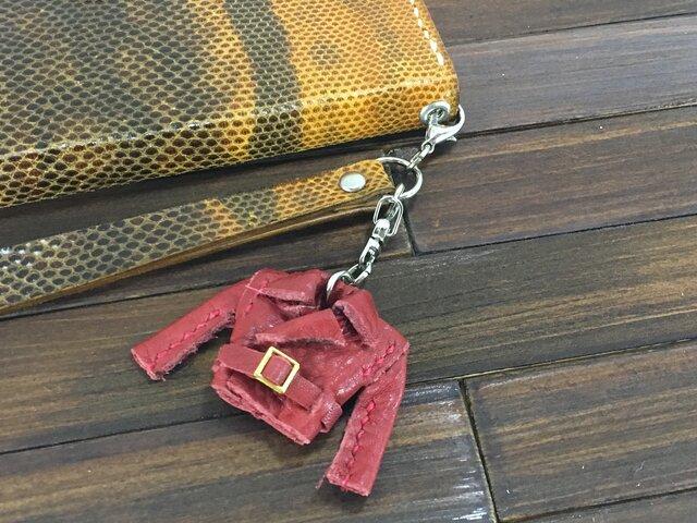 超小さい!本革製親指ライダースジャケット【赤】の画像1枚目