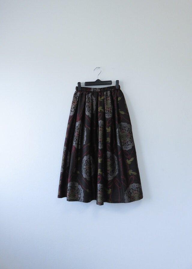 *アンティーク着物*リボンと華紋模様泥大島紬のスカート(裏地つき)の画像1枚目