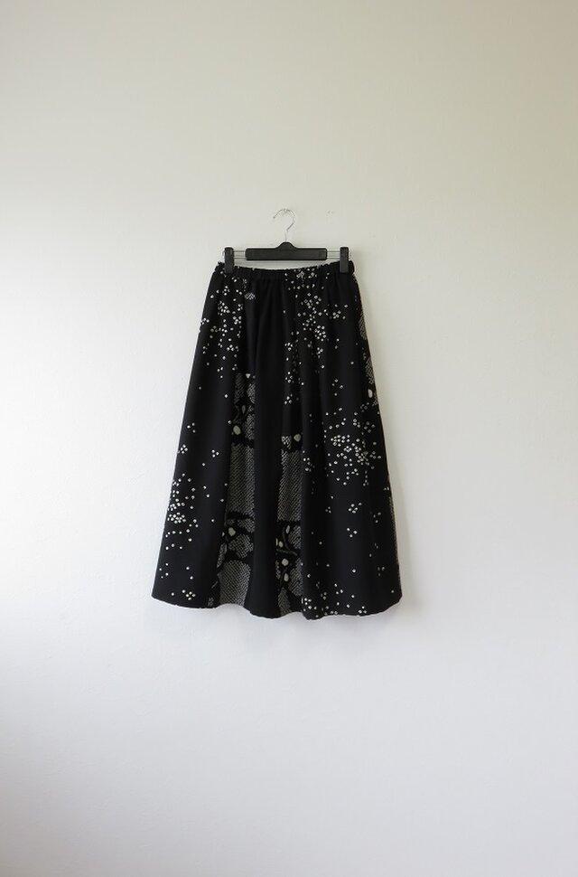 *アンティーク着物*絞り着物のパッチスカート(裏地つき)の画像1枚目