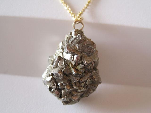 パイライトの原石ネックレス/黄鉄鉱 14kgfの画像1枚目