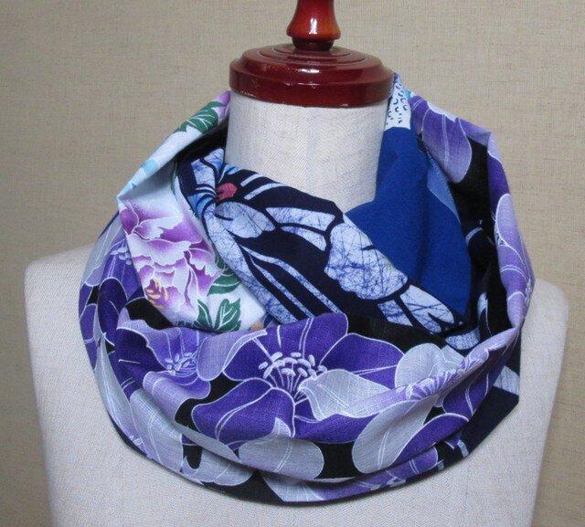着物リメイク 4種類の花・はな・華の浴衣から作ったお洒落スヌードの画像1枚目