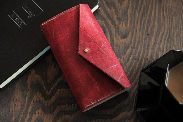 ★展示品★ワイルドな肌理に乱線の入った本革 手帳型 iPhoneケース / エンジの画像1枚目