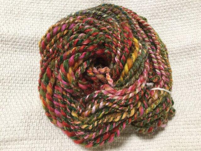 【手紡ぎ糸(スピンドル)の販売です✨】  メリノウール シルク その他 71gの画像1枚目