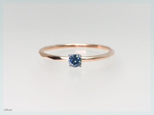 ブルーダイヤモンド プロング リング(Meteorite Prong Ring)の画像1枚目