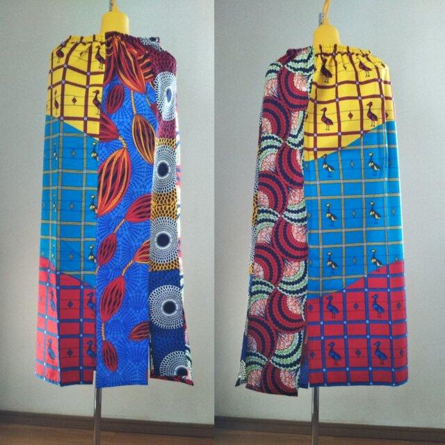 アフリカの布でワンピースやスヌードなどの画像1枚目