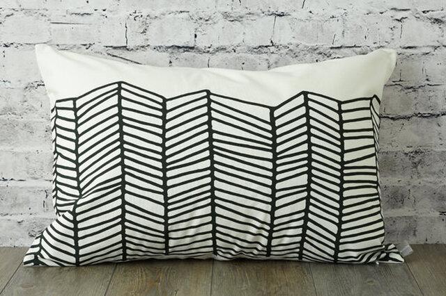 枕カバー 寝具 63×43cm ブラック ホワイト ウェーブ 北欧デザイン jubileemkrlmp005の画像1枚目