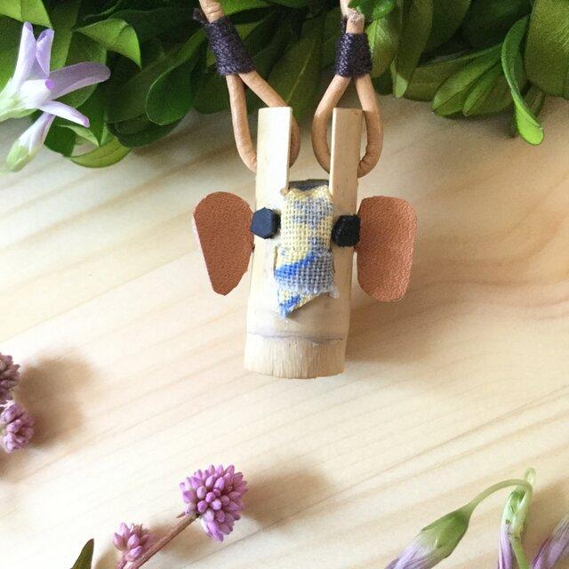 【素竹アクセサリー】 A SO bo  ゾウさん × Brown × 小花の画像1枚目