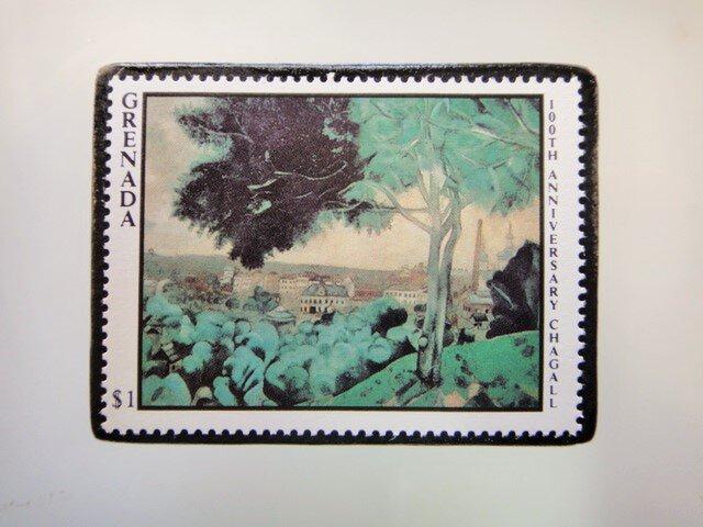 グレナダ シャガール切手ブローチ5111の画像1枚目