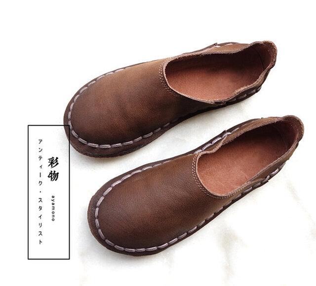 【受注製作】丸トウ 牛革レザーパンプス 靴 手製裁縫 茶褐色 SJC22の画像1枚目