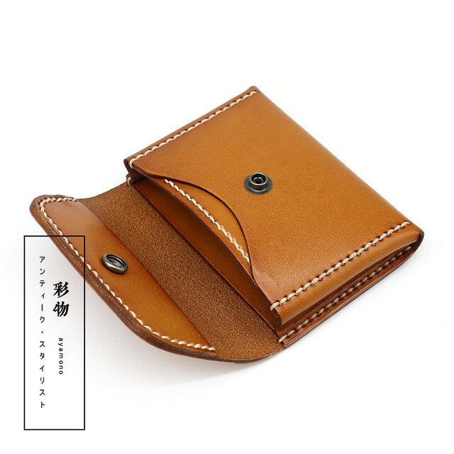 【受注製作】牛革レザーカードケース 手製裁縫 6色カラー展開 CC3328の画像1枚目