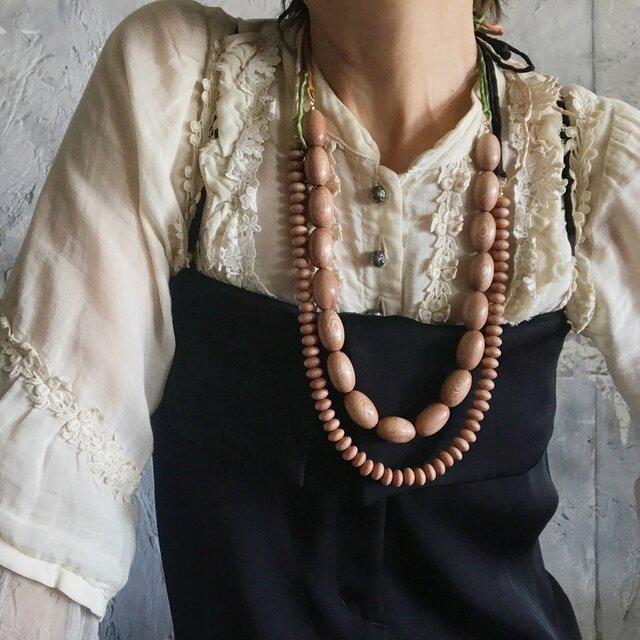 rosewood beads necklace (rondel)の画像1枚目