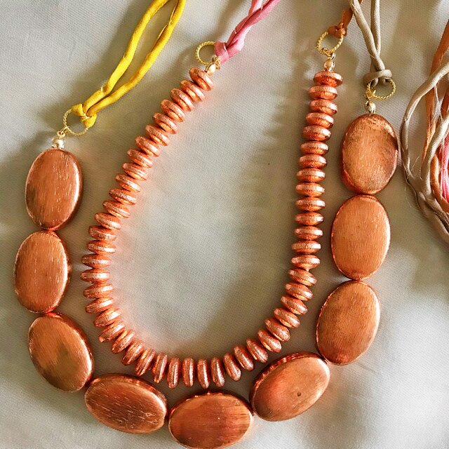 copper beads necklace (copper oval)の画像1枚目