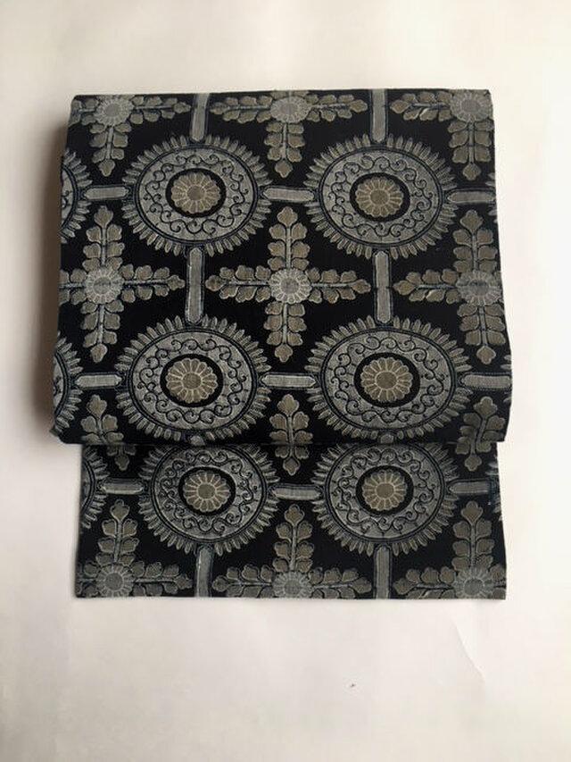 二色型染めの古布の名古屋帯【送料無料】の画像1枚目