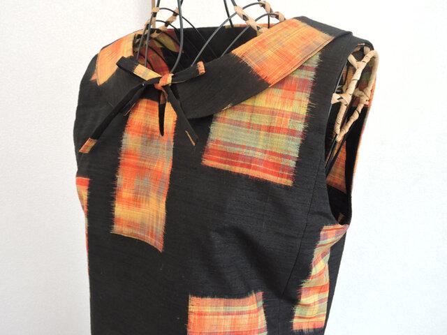 着物リメイク:襟付きリボンワンピース(黒)の画像1枚目