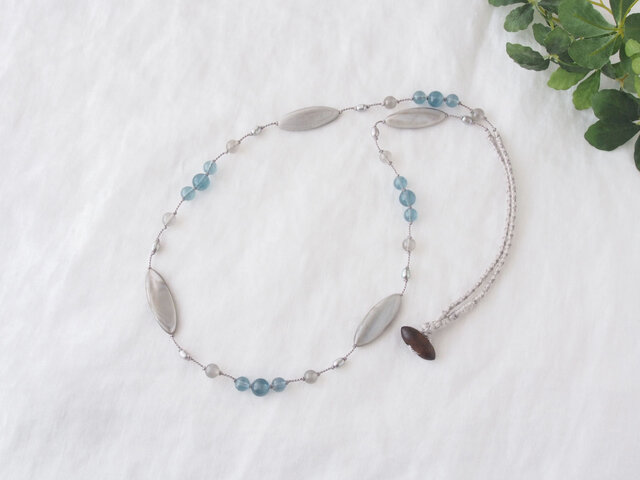 Marquise Long Necklace(Gray×Blue)の画像1枚目