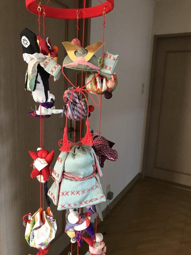 ヴィンテージ着物の吊るし飾り  端午の節句の画像1枚目