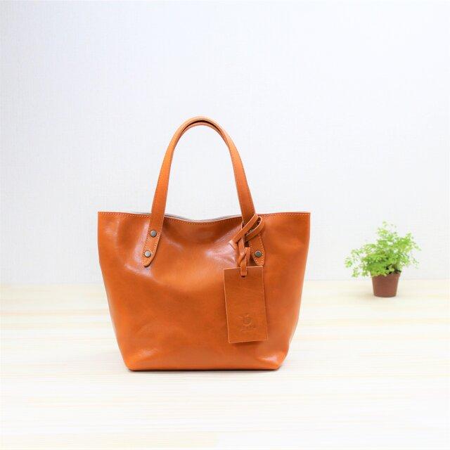 革のトートバッグ オレンジ ランチバッグの画像1枚目