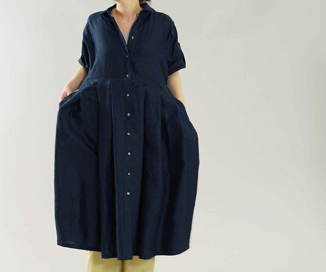 【wafu】薄手 リネンワンピース ロールアップ 袖 ドルマンスリーブ シャツ ドレス / ネイビー a064a-neb1の画像1枚目
