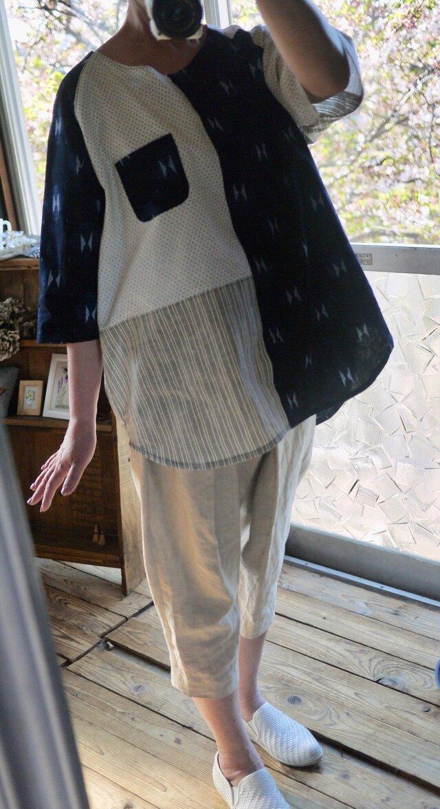久留米絣と浴衣からラグラン袖トップスの画像1枚目