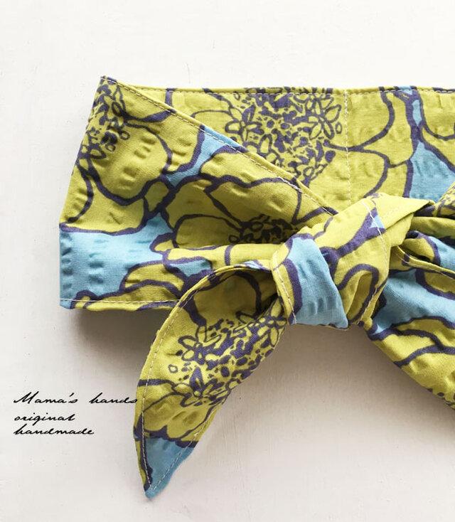 ★残りわずか★ 保冷剤 花柄大 黄 x 水色 綿100% 節約 快適 エコ スカーフ ネッククーラーの画像1枚目