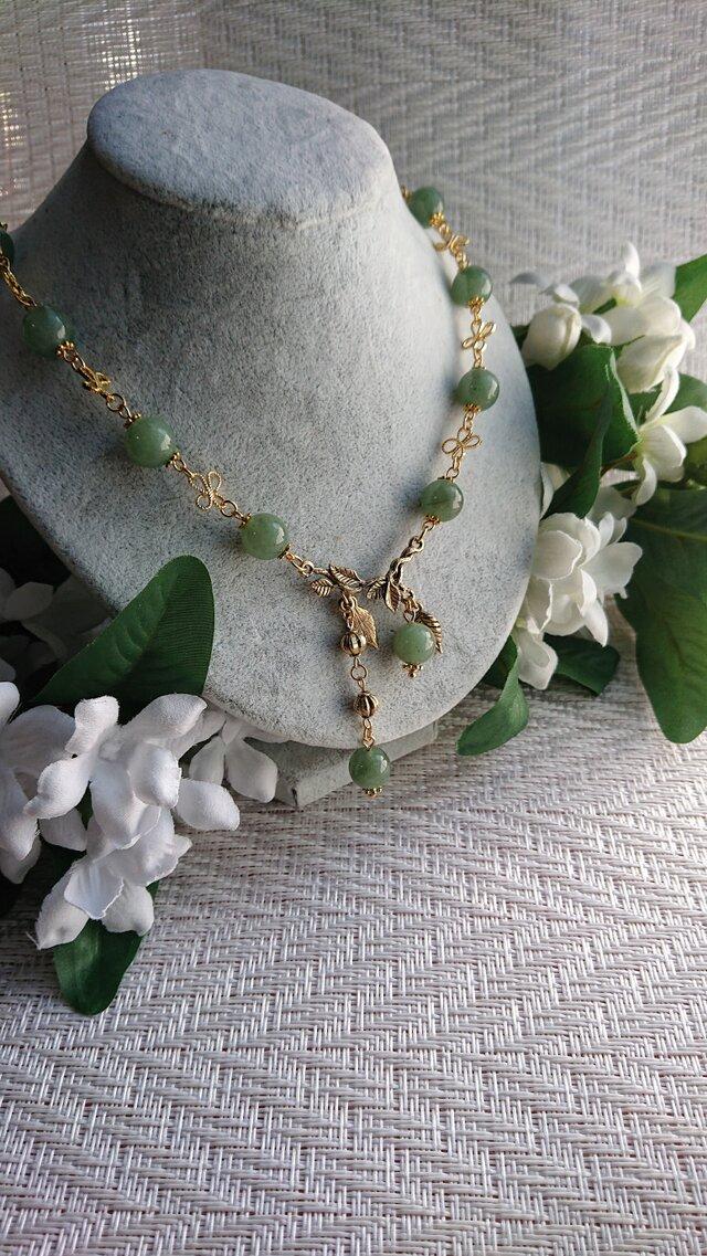 グリーンアベンチュリン    輝く新緑のネックレスの画像1枚目