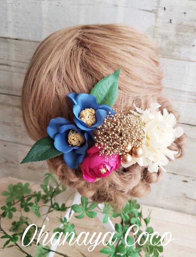 本物のお花 かすみ草と紫陽花と紺椿の髪飾り6点Set No477の画像1枚目