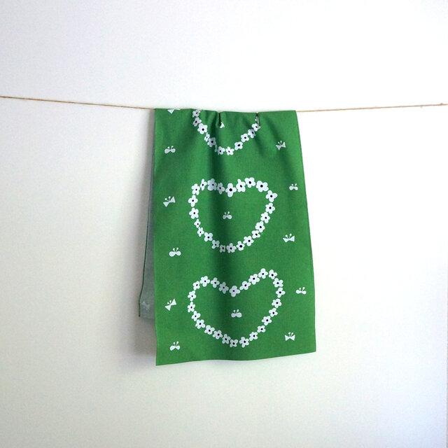 humming heart てぬぐい(green)の画像1枚目