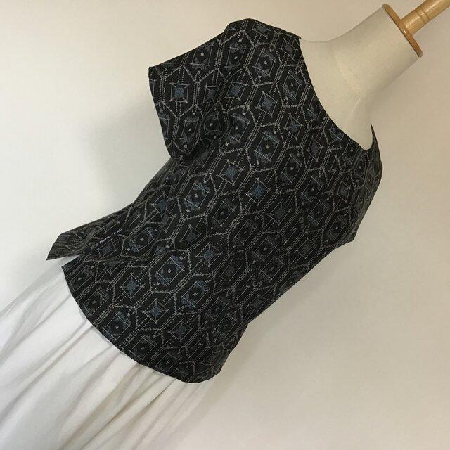 0416    着物リメイク    ゆったりめのM寸法のブラウス    村山大島紬の画像1枚目