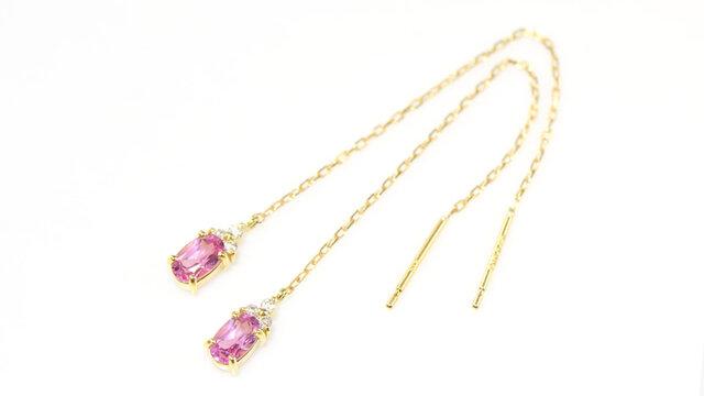 K18 ピンクスピネル×ダイヤモンド ロング ピアス イエローゴールド YK-AW061CIの画像1枚目