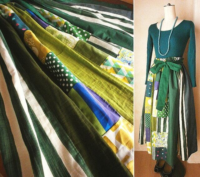 SOLD リネン コットン 絵画なパッチワーク 北欧グリーン リボン付き ギャザースカートの画像1枚目