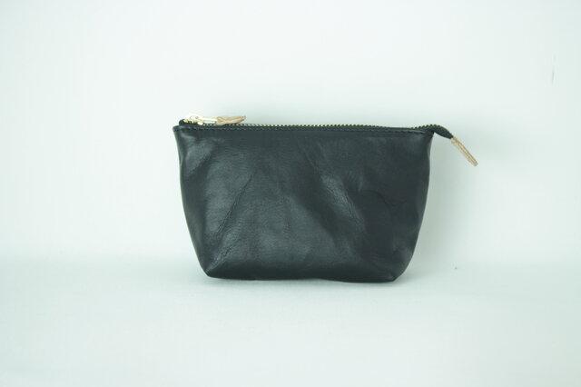 柔らかなポーチ ホースレザー ブラック 化粧ポーチ 黒apo-01paの画像1枚目