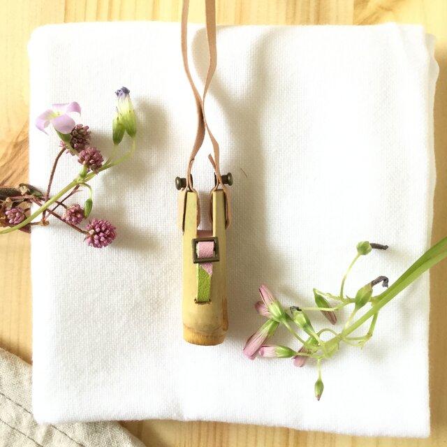 【素竹アクセサリー】StTICK    Bamboo × combi Belt ピンク×グリーンの画像1枚目