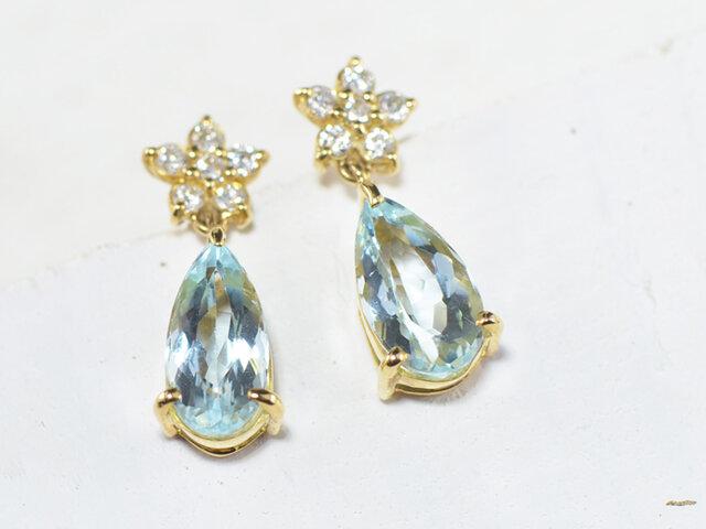 K18 アクアマリン×ダイヤモンド ピアス  K18イエローゴールド YK-AV092の画像1枚目