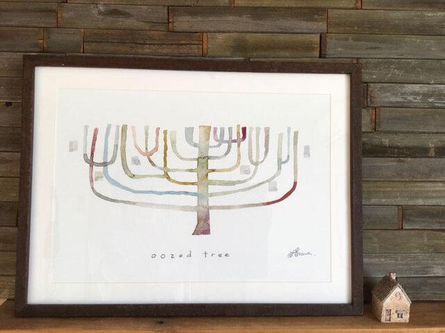 ゆる絵 oozed tree  A3 + 額の画像1枚目