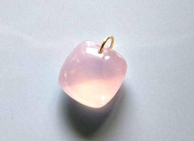 K18 大粒ピンクカルセドニー ネックレス リバーシブル チャームの画像1枚目