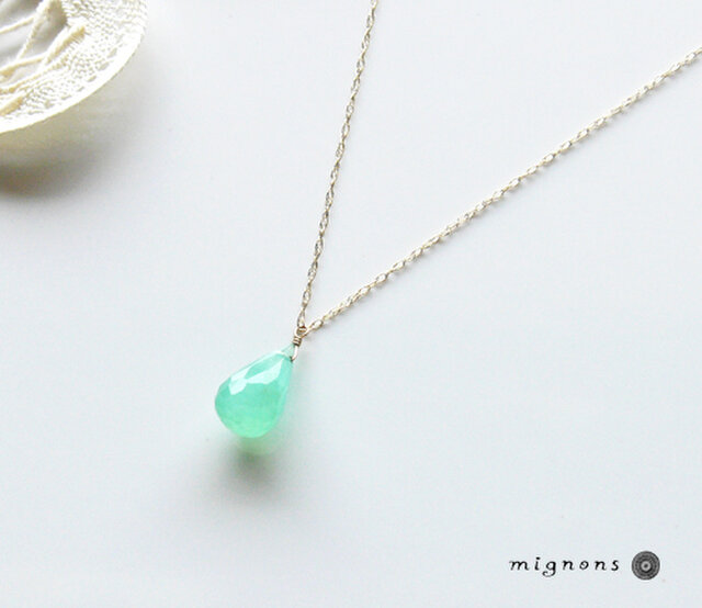 【K10】宝石質クリソプレーズ一粒ネックレスの画像1枚目
